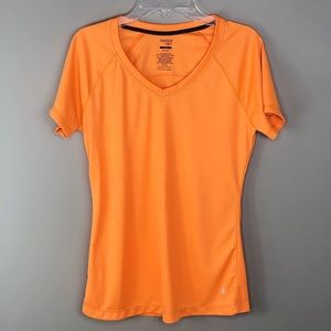 Danskin Orange Compression V-Neck T-Shirt